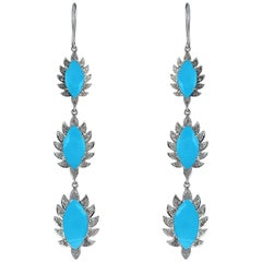 Meghna Jewels Claw Turquoise Diamonds Triple Drop Marquise Earrings