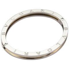 Bvlgari Bulgari B Zero-1 18 Karat Yellow Gold and Steel Oval Bangle Bracelet