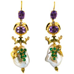 0.90 Carat Emerald Amethyst Pearl 0.16 Carat White Diamond Yellow Gold Earrings