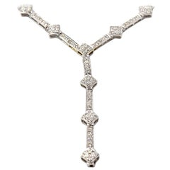 "5.70 Carat Diamond 18 Karat White Gold ""Y"" Drop Necklace"