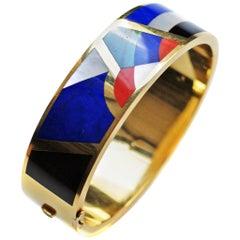 Asch Grossbardt Gem Inlaid 18 Karat Gold Bangle Bracelet