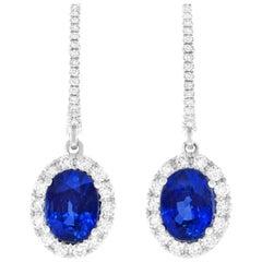 Sapphire and Diamond Set Gold Drop Earrings