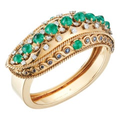 Indian Influenced Retro Cartier Cabochon Emerald Bangle