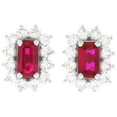 Ruby and Diamond Set Gold Stud Earrings