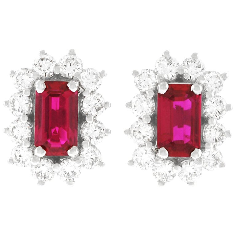 Ruby and Diamond Set Gold Stud Earrings