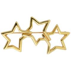 Tiffany Triple Stars Gold Brooch