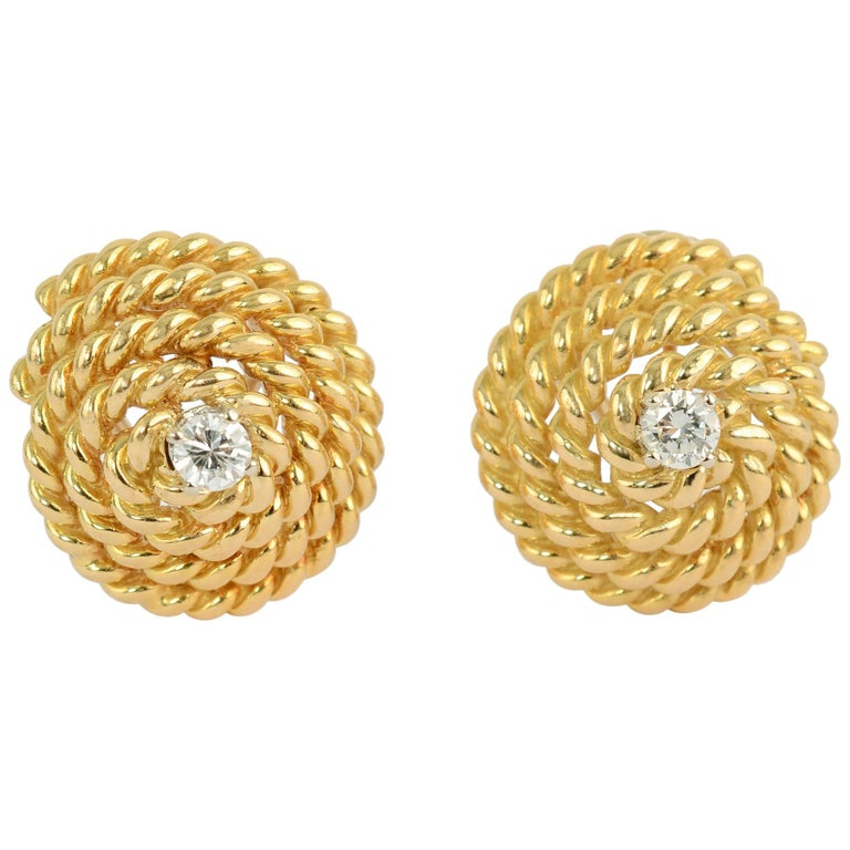 Tiffany Gold Coil Earrings with Centre Diamond