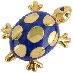 Tiffany & Co. Lapis Lazuli Gold Turtle Brooch