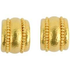 Elizabeth Locke Gold Hoop Earrings with Beading