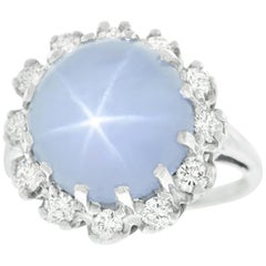 13.33 Carat Star Sapphire and Diamond Gold Ring No Heat GIA