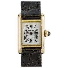 Cartier Paris Ladies Yellow Gold Mini Tank manual wind Wristwatch, circa 1960s