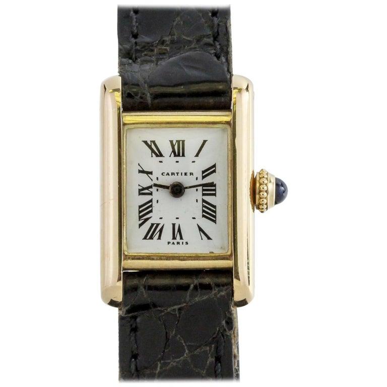 Cartier Paris Ladies Yellow Gold Mini Tank manual wind Wristwatch, circa 1960s