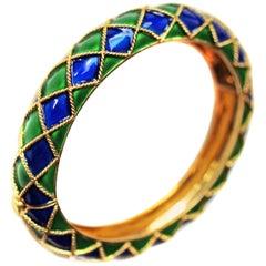 Mauboussin Paris Enamel 18 Karat Yellow Gold Bangle Bracelet