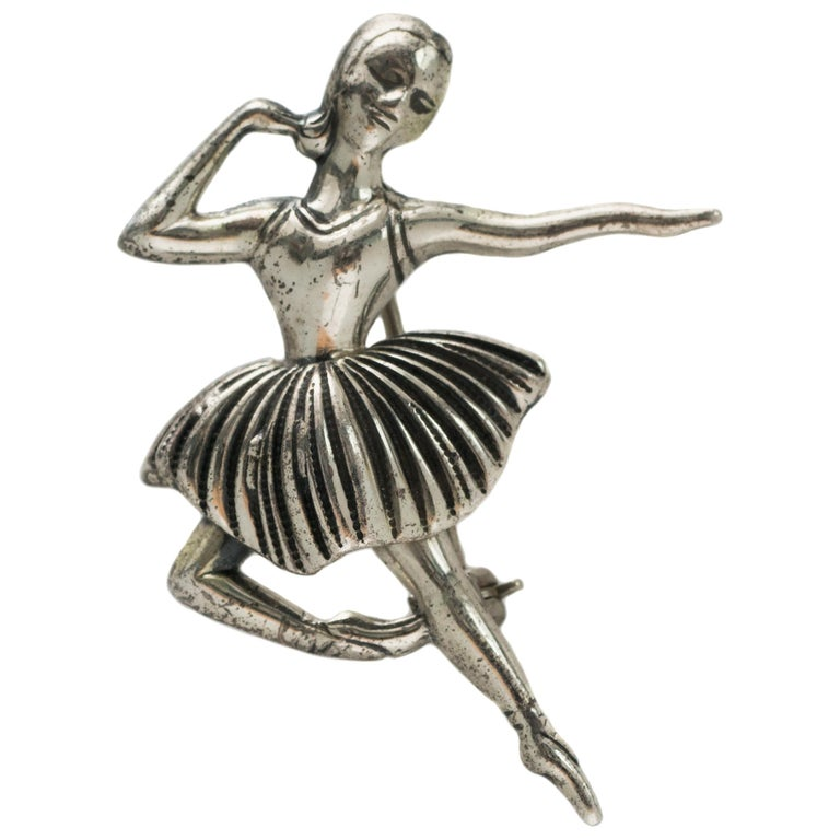 1940s Beau Sterling Silver Ballerina Brooch Pin