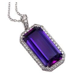Leon Mege Rich Purple Amethyst Pendant in Platinum With Diamond Pave