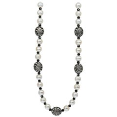Button Pearl Necklace with Fancy Sterling Silver & Diamond Puff Beads