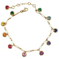 Multi-Color Sapphire Emerald Gemstone Handmade Bracelet 18 Karat Gold