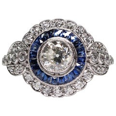 Antique Art Deco Platinum 1.8 Carat Diamond and Sapphire Ring