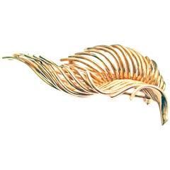 Tiffany & Co. Retro 18 Karat Gold Feather Brooch