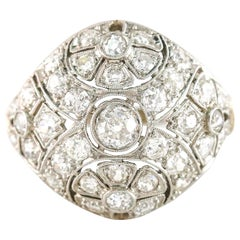 2 Carat Platinum Filigree Edwardian Diamond Dome Ring