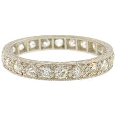 Art Deco Diamond Platinum Eternity Band Ring Old European Cut Wedding