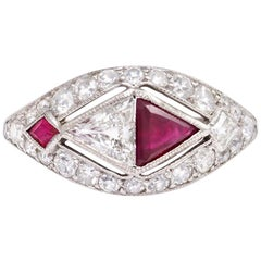 Art Deco Trilliant-Cut Ruby and Diamond Ring in Platinum
