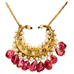 Rajasthani Aria Mughal Diamond Ruby Seed Pearl Enamel Crescent Gold Necklace