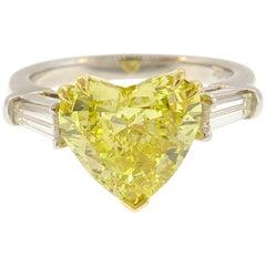 GIA Fancy Vivid Yellow Diamond Platinum Ring 2.64 Carat Heart Solitaire