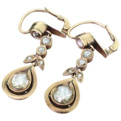 Victorian 2.00 Carat Rose Cut Diamond Drop Earrings