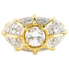 EGL Certified 1.29 Carat Platinum 18 Karat Yellow Gold Diamond Dome Ring