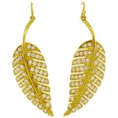 Jennifer Meyer Diamond Yellow Gold Leaf Earrings