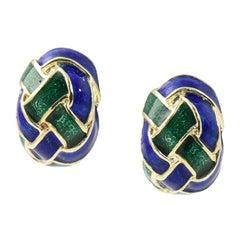 1970s Woven Green and Blue Enamel Gold Earrings