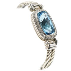 David Yurman Blue Topaz and Diamond Sterling Silver Bangle Bracelet
