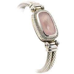 David Yurman Rose Quartz and Diamond Sterling Bangle Bracelet
