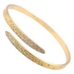 Lucas Priolo 1.46 Carat Diamond Bypass Bangle Bracelet in 18 Karat Yellow Gold