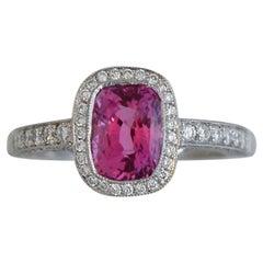 2.58 Carat Big Cushion Natural Fancy Pink Sapphire and Diamond Ring Platinum
