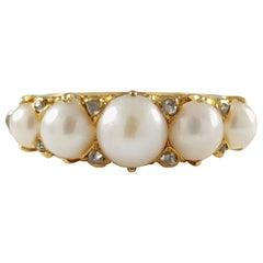 Antique Victorian 18 Karat Yellow Gold Pearl and Diamond Ring