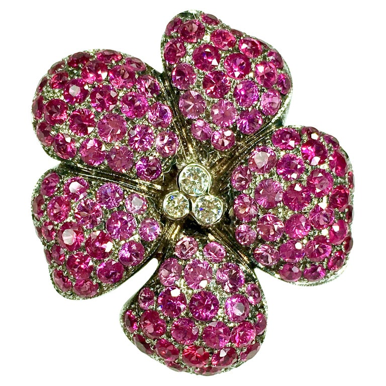 Ruby, Pink Sapphire and Diamond Brooch, Pendant