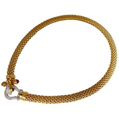 1.65 Carat Natural Ruby Diamonds Toggle Locking Necklace 14 Karat