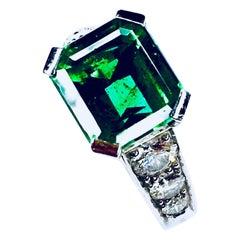 18 Karat Gold Green Emerald and 2.22ct Diamond Engagement Ring