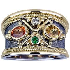 Georgios Collections 18 Karat White Gold Diamond and Sapphire Byzantine Ring