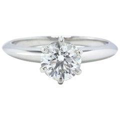 Tiffany & Co. Round Diamond Engagement Ring Solitaire 1.07 Carat F VS1 Platinum