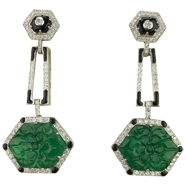 Emerald Carving, Diamond and Black Enamel Dangling Earrings