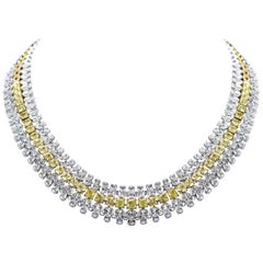 Studio Rêves 18 Karat Gold, Yellow Cushion Cut and White Diamonds Necklace