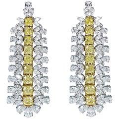 Studio Rêves 18 Karat Gold, Cushion Cut and White Diamonds Dangling Earrings