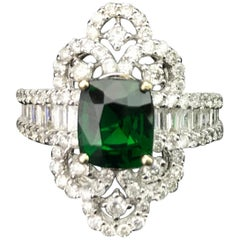 2.03 Carat Cushion Green Garnet and Diamond Cocktail Ring