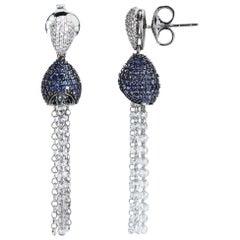 Studio Rêves 18 Karat Gold, Blue Sapphire and Rose Cut Diamond Dangling Earrings