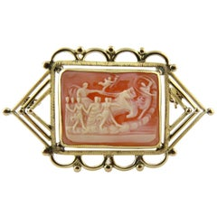 Pink and White Chariot Scene Cameo with 14K Yellow Handmade Frame Brooch Pin
