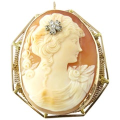 14 Karat Yellow Gold and Diamond Cameo Brooch or Pendant