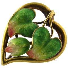 Antique Victorian Art Nouveau 14 Karat Yellow Gold Heart Shaped Pin/Brooch